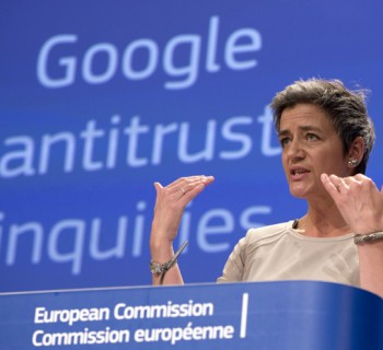 European Union's competition chief Margrethe Vestager speaks during a media conference regarding Google at EU headquarters in Brussels on Wednesday, April 15, 2015. The European Union's executive hit Google with an official antitrust complaint on Wednesday that alleges the company abuses its dominance in Internet searches and also opened a probe into its Android mobile system. (AP Photo/Virginia Mayo)