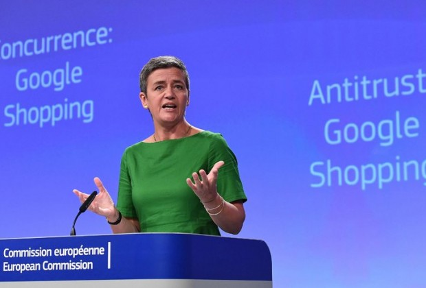 Margrethe Vestager, the European Union antitrust chief, in Brussels on Tuesday. In addition to the Google case, she has previously demanded that Apple pay $14.5 billion in back taxes in Ireland, opened an investigation into Amazon's tax practices in Europe and raised concerns about Facebook's dominance over people's digital data. Credit Emmanuel Dunand/Agence France-Presse — Getty Images